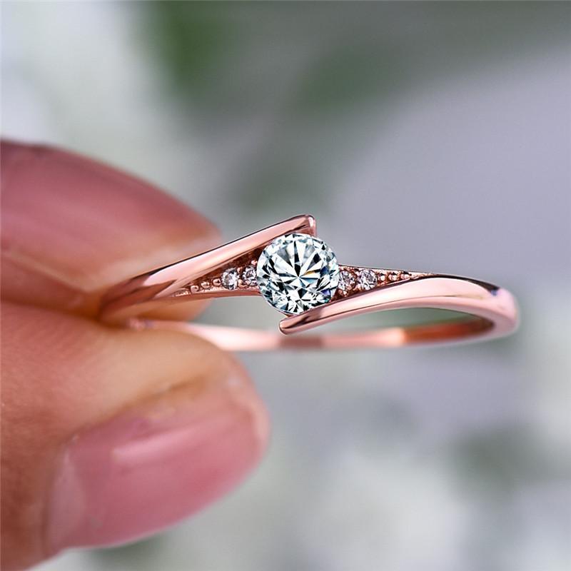 Lujo femenino pequeño anillo redondo anillo promesa rosa oro anillo de compromiso boho vintage anillos de boda para mujeres