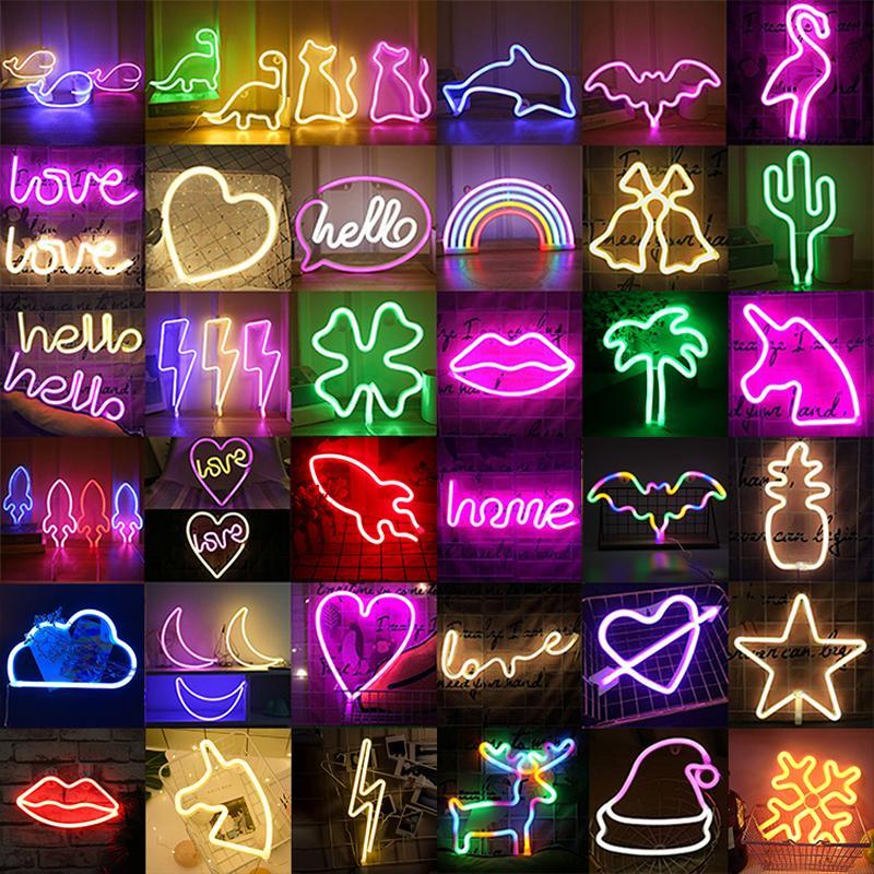 Оптовая Светодиод Неона Ночной Легкий Знак Стена Художественная Знак Ночной Ламп Xmas День Рождения Подарок Свадьба Настенные Настенные Неоновые Лампы Домашний Декор C0305