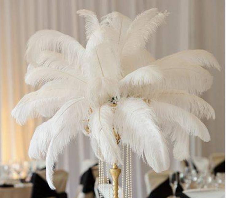 Оптовая продажа 14-16 дюймов белый черный красный розовый синий желтый зеленый фиолетовый розовый страус перьев перьев для свадебного центрального стола столый корабль