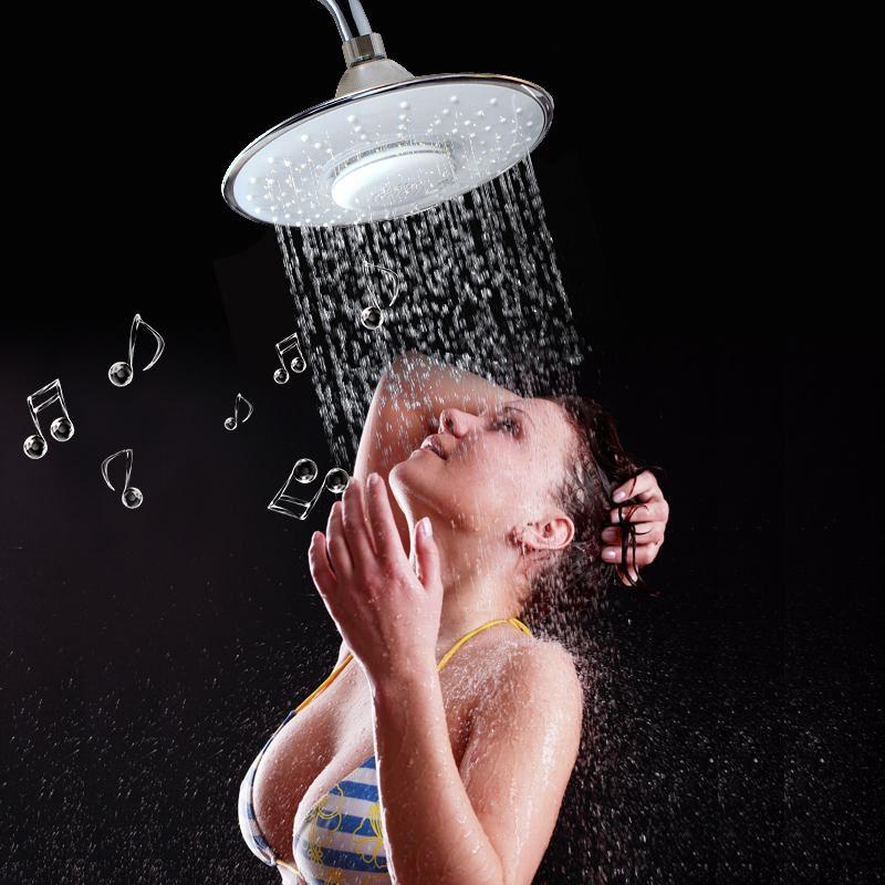 욕실 음악 고정 샤워 헤드 비 라운드 샤워 헤드 블루투스 스피커 전화 LED 욕실 하드웨어 지능형 샤워