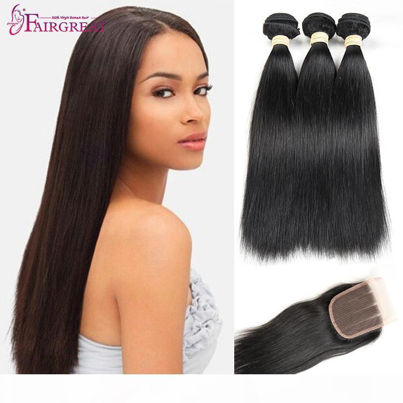 Pelo virgen recto peruano con cierre 4 paquetes de pelo recto con cabello virgen peruano recto frontal con cierre