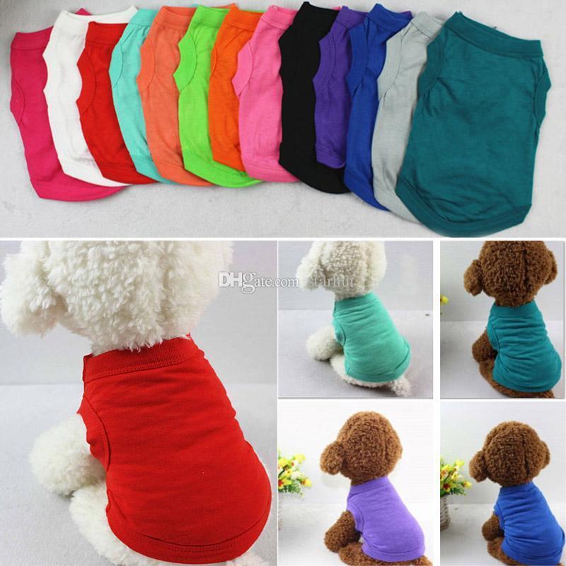 PET T Shirt Yaz Katı Köpek Giysileri Moda En Gömlek Yelek Pamuk Giysileri Köpek Yavru Küçük Köpek Giysileri Ucuz Evcil Hayvan Giyim