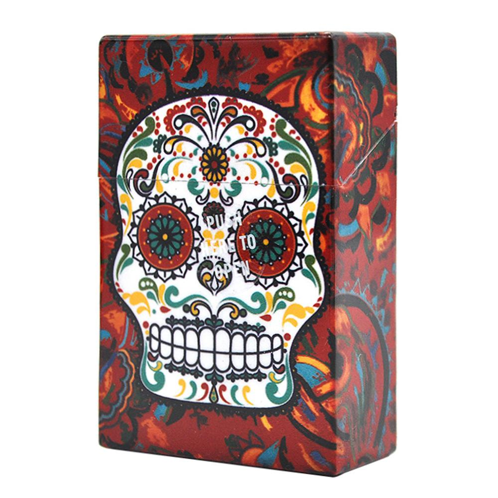 Latest Creative Skull Head of Ghost Printed Cigeratte Case Mix Color portable Plastic box Push Here to Open