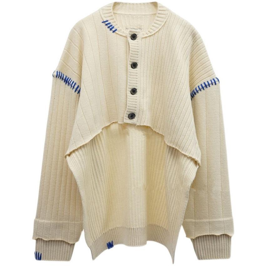 2021 New Female Adhesive T-shirt Grip Error Irish Half Length Knitting Jerseys Cotton Blue Line in Tag Atvt