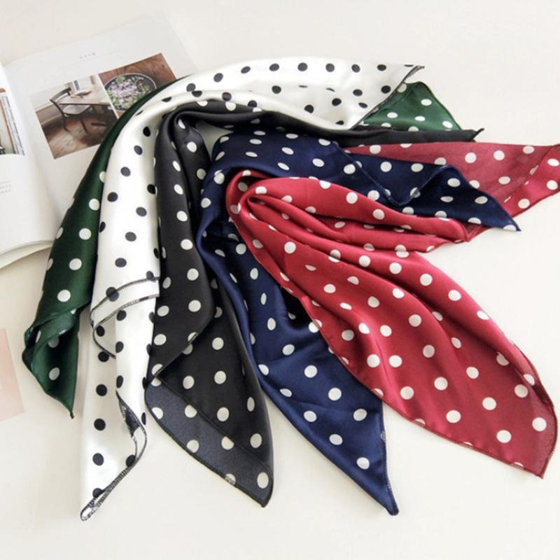 Шарфы роскошь мягкие женщины квадратные шарф бандана обертывают точка печати красивые лайформы шеи оголовье волос галстук галстук украшения