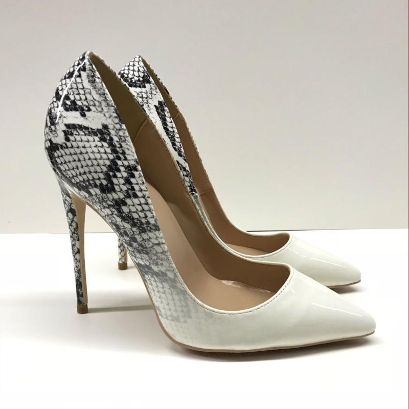 Kleidschuhe 2021 Mode schwarz Python Patentleder Leder Poindecke Stiletto Ferse High Shoe Pumpe High-Heeled