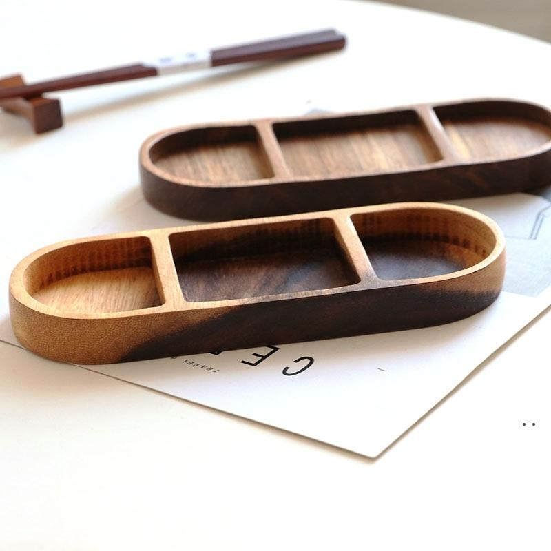 دائم الإبداعية الرجعية الخشبية التوابل غمس طبق المنزلية بيضاوي الشكل الصحن الخفيفة لوحة أدوات المائدة بالجملة AHD4909