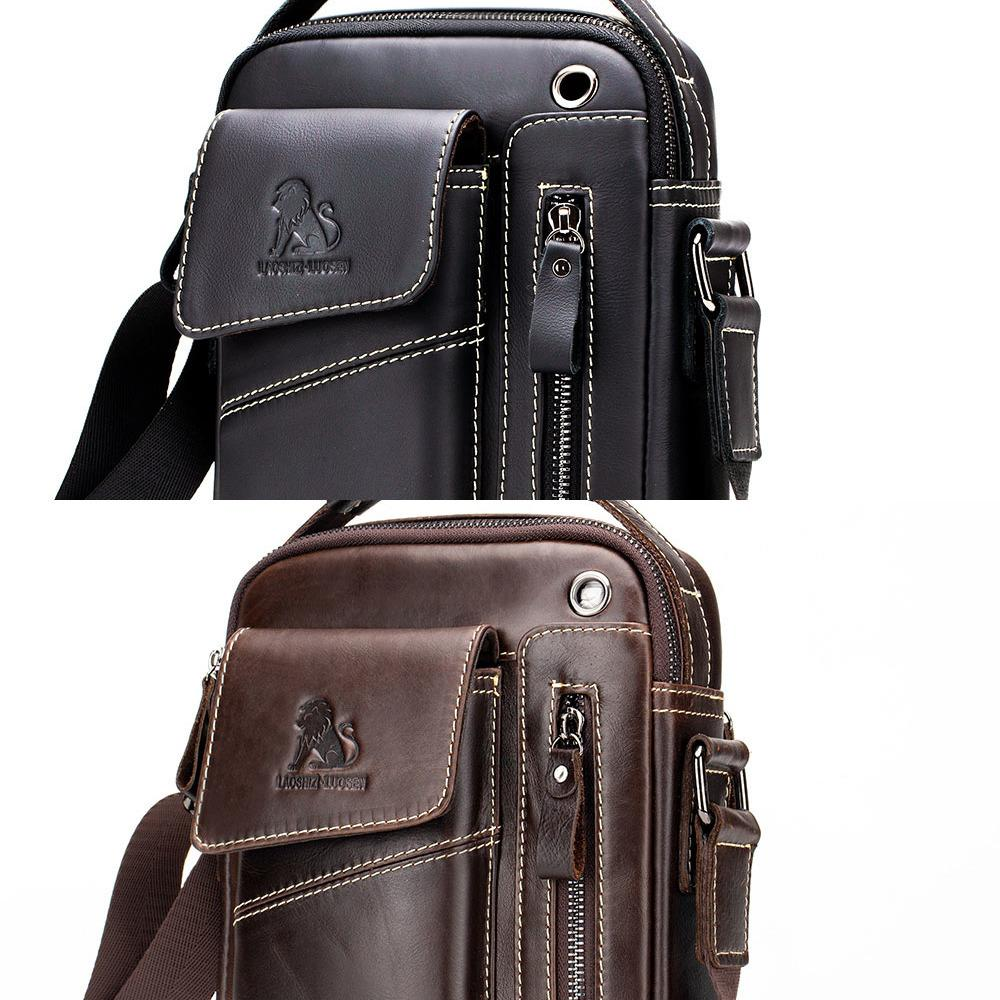 New Genuine Leather man Messenger Bags Vintage cow leather Small Shoulder bag for male men's Crossbody bag Casual Tote handbag C0224