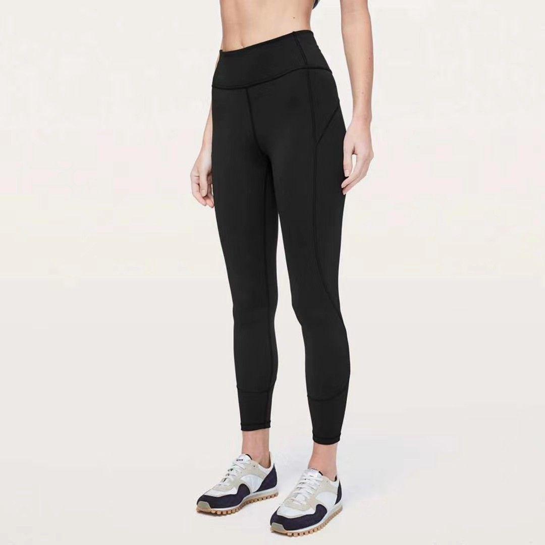 Gymwear Pantolon Tasarım Yoga Tayt Kadın Yoga Spandex Malzeme Kadın Spor Leggings Lul Elastik Fitness Bayan Genel Tam Tayt Egzersiz