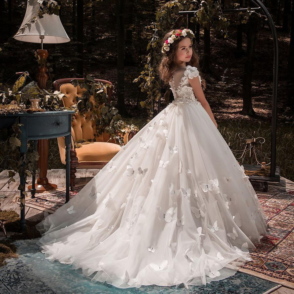 Neue nette Blumenmädchen Kleid Tüll Perlen Appliqued Pageant Kleider für Mädchen Erste Kommunion Kleider Kids Wear