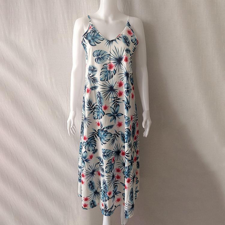 S-5XL 대형 플로랄 슬립 드레스, 멀티 컬러 서스펜 스커트,면 혼합 출산 드레스