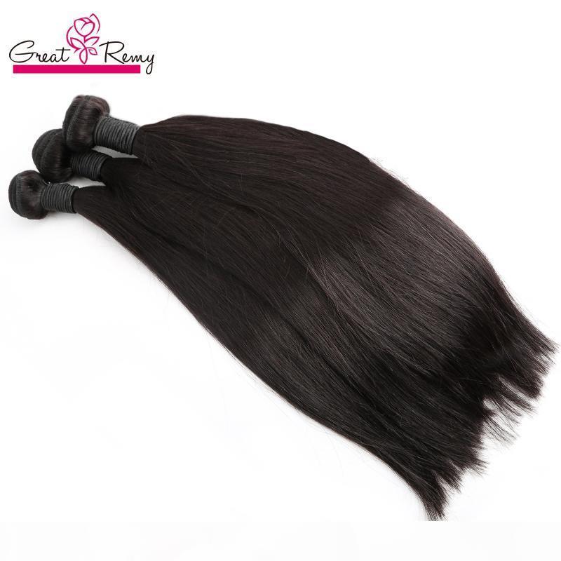 """4 stücke los Haarverlängerung seidig gerade 7A Doppelschuss mongolische Jungfrau Unverarbeitete menschliche Haare gewebt färbbar 8 """"-30"""" Greatremy Haar"""