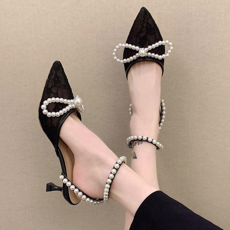 Kadın Sandalet Dantel Inciler Yay Mujer 2021 Sivri Burun Dize Boncuk Ayak Bileği Kayışı Yüksek Topuklu Pompalar Beyaz Düğün Ayakkabı 9019n
