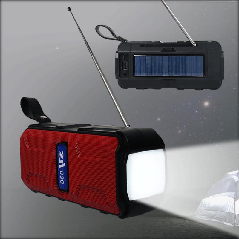 BT5.1 Solar HiFi Speaker with LED Emergency Flashlight Multifunctional 1200MAH Battery AM/FM Radios BT Loudspeaker Supports USB TF MP3 Player