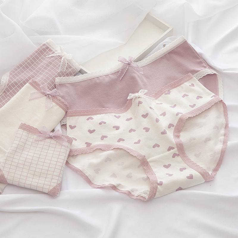 Coton pour femme Sous-perspictions Heart Print Lingerie Période Période Slip Plaid Slips pour Femme M-XXL