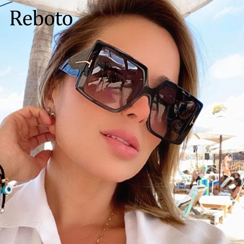 Neue übergroße Quadratische Sonnenbrille Frauen Mode 2021 Marke Design Luxus Große Vintage Farbtöne Sonnenbrille Weibliche UV400
