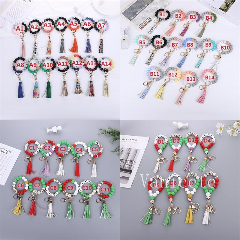 47 Color Beaded Keychain Party Favor Wooden Tassel String Chain Food Grade Silicone Bead KeyRing Women Wrist Strap Bracelet