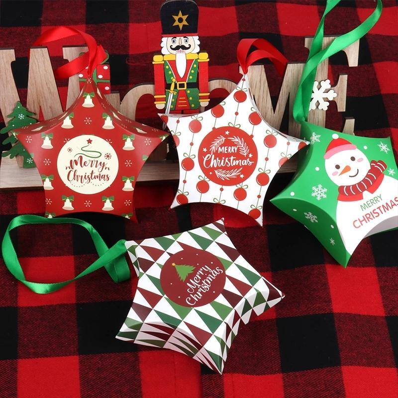 Yaratıcı Kağıt Noel Şeker Kutusu Yıldız Moda Şeker Hediye Çanta Kolye Noel Kutuları Süslemeleri Candybox 8style WLL229