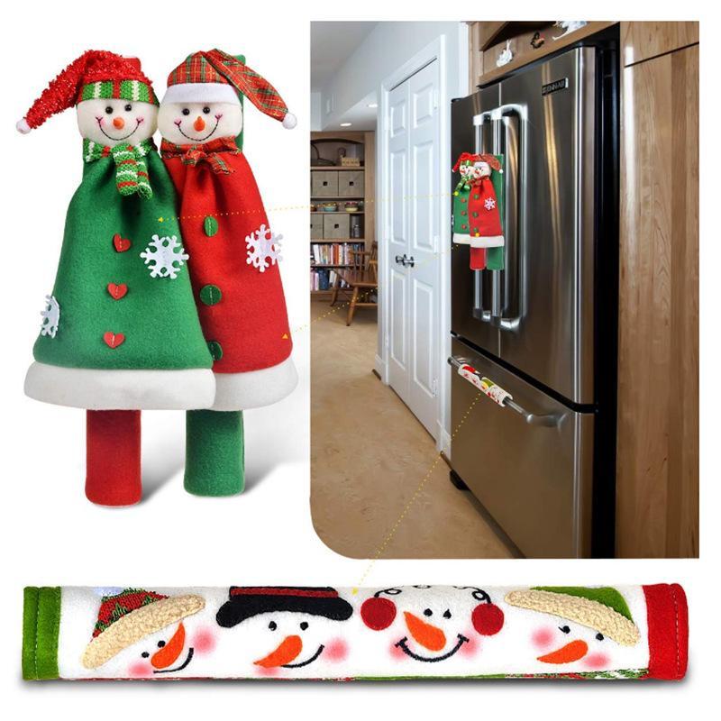 حزب اللوازم عيد الميلاد مقبض الثلاجة يغطي سانتا كلوز فرن ميكروويف غسالة أطباق غطاء الباب عيد الميلاد ديكور GWB8797