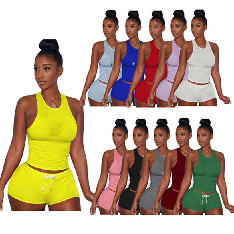 Sommer Frauen Jogger Anzug 2 Stück Sets Weste Shorts 2XL Trainingsanzüge Mode Sportswear Tank Top Casual Kleidung Capris Kostenloser Versand
