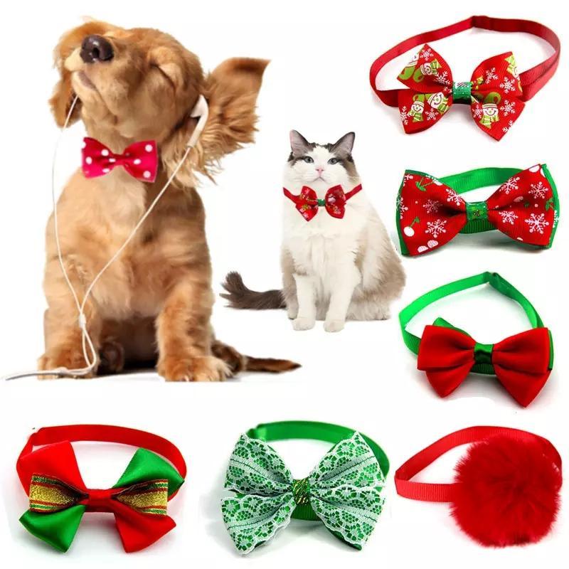 1pcs Série de Noël Collier de chien Cravate d'arc avec strass brillant pour les chiens de petite taille Dress Up Décoration Animaux de compagnie Collier WLL299