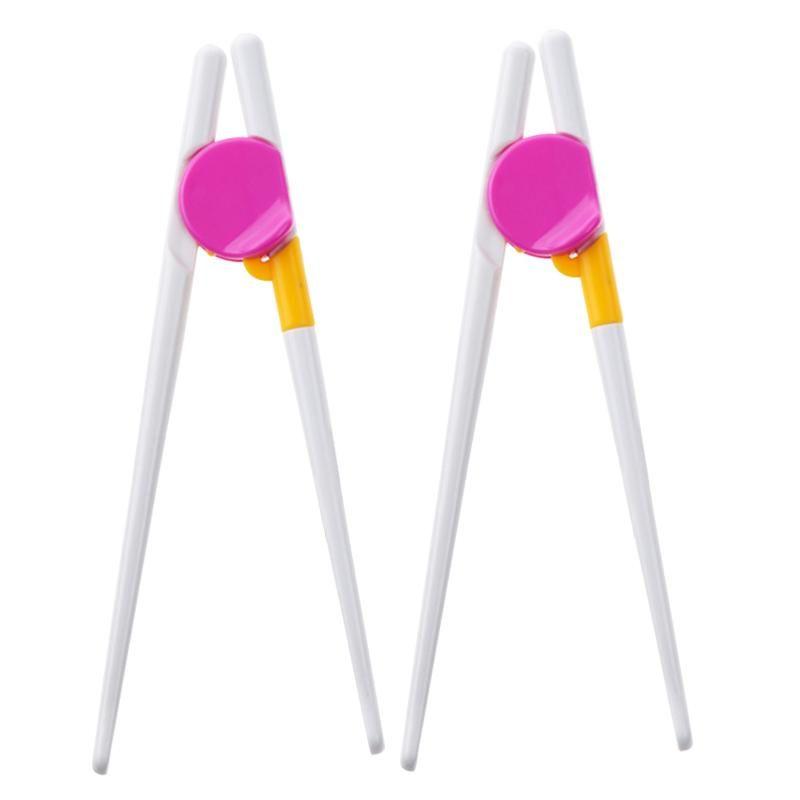 2Pairs Reutilizável Aprendizagem Crianças Treinamento Chopsticks Beginners Ajudante Desenvolvimento Easy Use Cute Crianças Presentes Direito Esquerdo