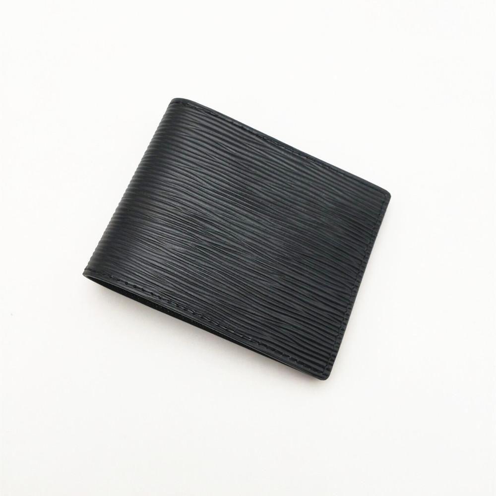 Moda para hombre carteras clásico hombres de cuero rayas textusred múltiples bifold bifold billetes pequeños pequeños con caja