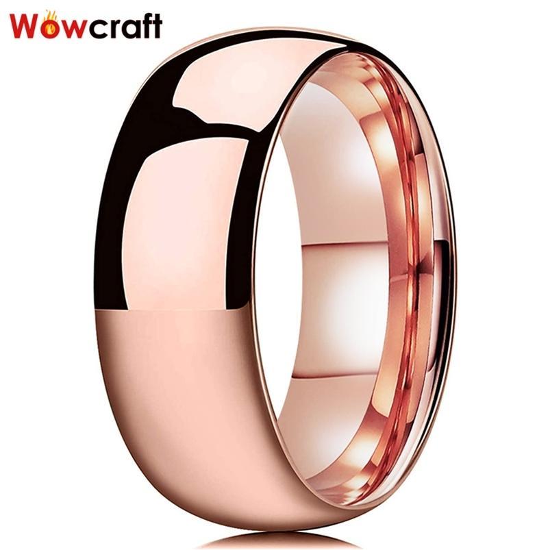 Розовые золотые мужчины женщины вольфрама пара 2/4/6/8 мм обручальное кольцо свадебные кольца полированные блестящие купольные формы высокого качества комфорт Fit 210701