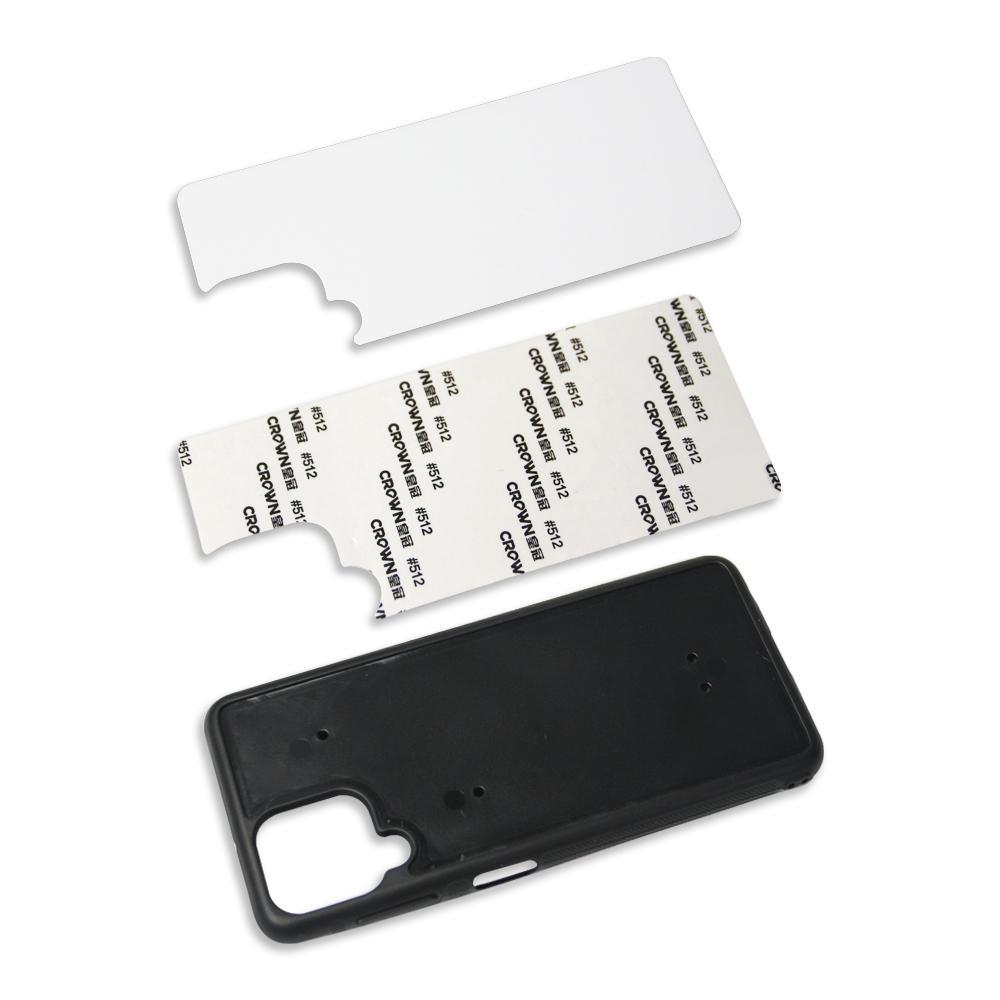 Gummi TPU + PC DIY Sublimation Fodral Aluminium metallplåt Lim för Samsung Galaxy S20 Ultra A02 M02 A02S EU Version 100PCS / Lot