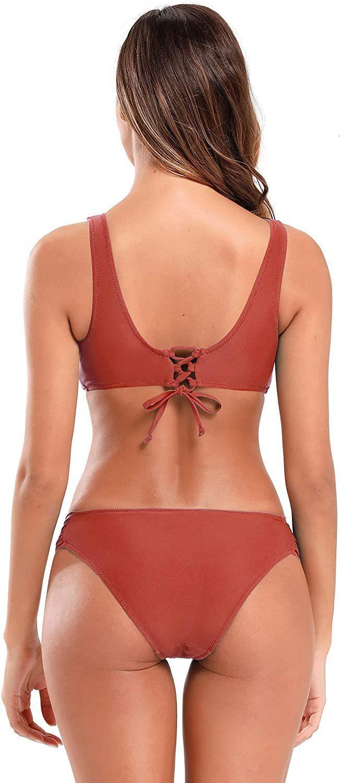 Bikini contorti da donna Bikini Sport dell'ombelico Top Pieghettato Shekini Shekini Costume da bagno