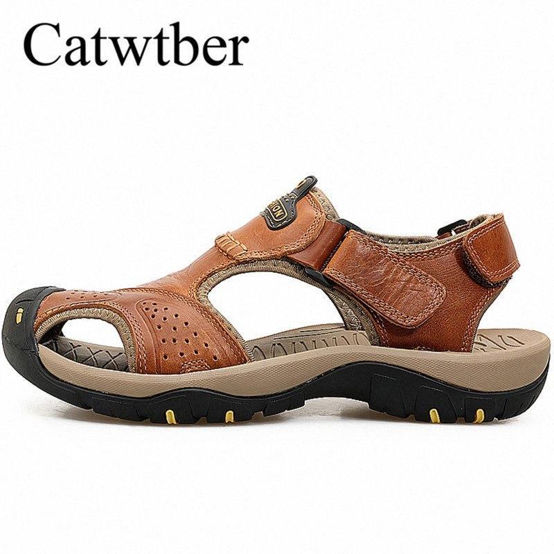 Catwtber Hecho a mano al aire libre Moda de verano Playa de verano Sandalias Sandalias de cuero para hombre Pisos Hook Loop Zapatos de cuero ocasionales Zapatos G2K1 #