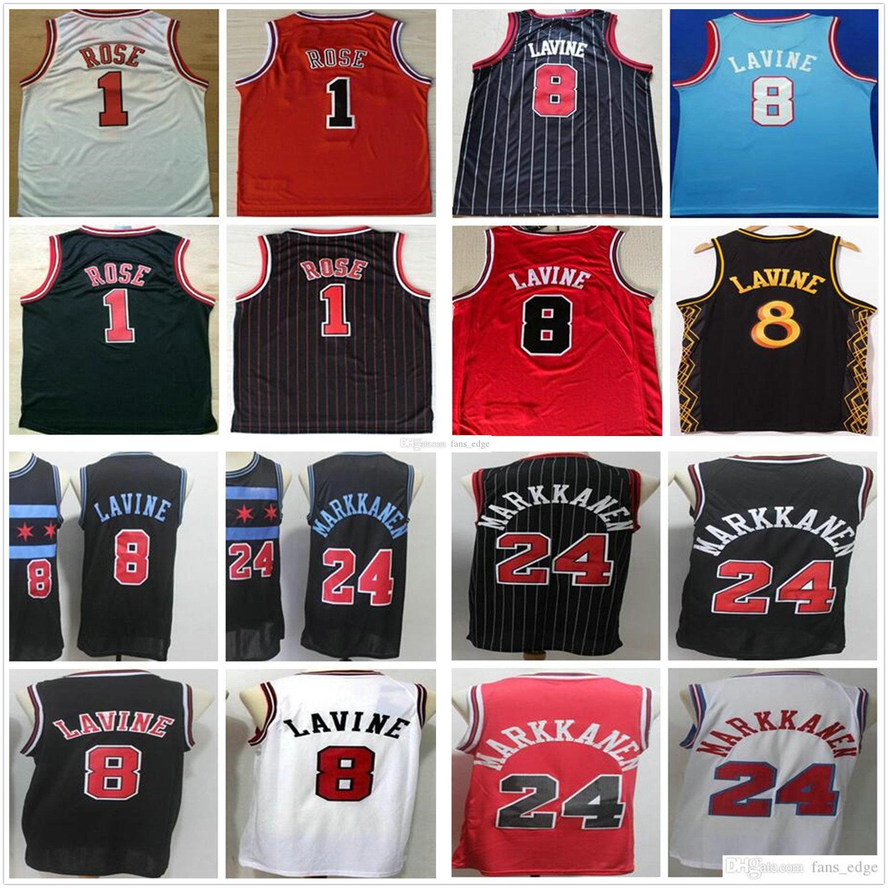 NCAA Koleji Erkek Zach 8 Lavin Formaları Siyah Kırmızı Beyaz Lauri 24 Markkanen Toptan Ucuz Retro Vintage Derrick 1 Gül Basketbol Formaları