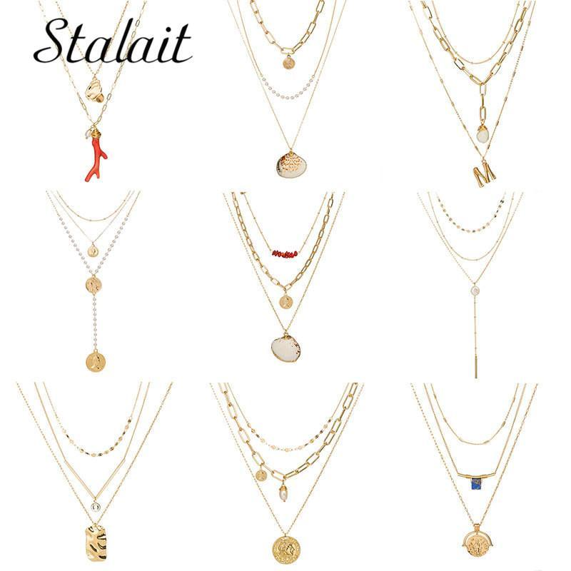 Pendant Necklaces Bohemian Queen Coin Pearl Sequins Necklace Letter M Alloy Red Coral Natural Shell Stone For Women Party Gifts