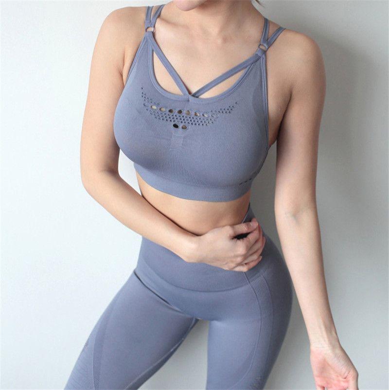 Ensemble Feminino Yoga Set Hollow Out Tracksuit Sexy Workout Ginásio Desgaste Running Roupas Fitness Mulheres Sportswear Sport