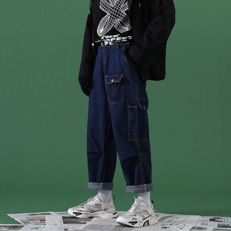 2021 NUEVO MOMBRERO DE HOMBRES PANTALONES PANTALONES PANTALONES DE MODA TERRAMIENTA HOMBRE HOMME CARGO Bolsillo Lavar los pantalones vaqueros Negro / Azul Pantalones casuales Tamaño M-2XL YR81