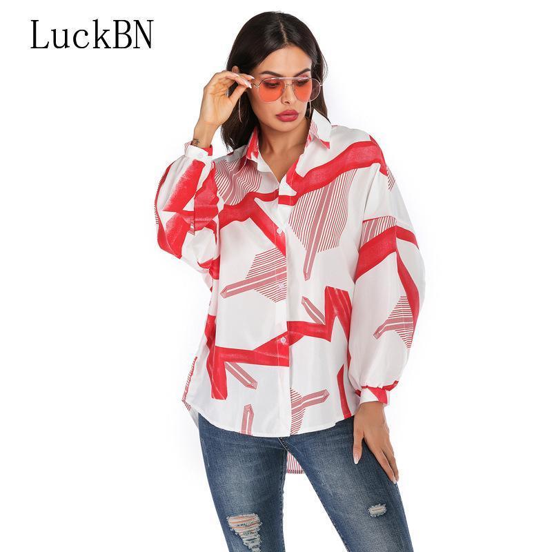 Luckbn Çizgili kadın Giyim Şifon Gömlek 2021 Yaz Sonbahar Rahat Gevşek Uzun Kollu V Yaka Bluz Kadın Tops Artı Boyutu
