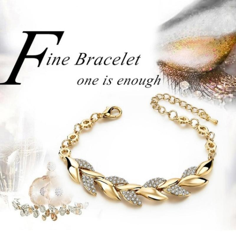Fashion Charm Cubic Luxury Crystal Gold Leaf Jewelry Bracelets Hand Chain For Woman Girls Elegance Wedding Party Jewelry Gift