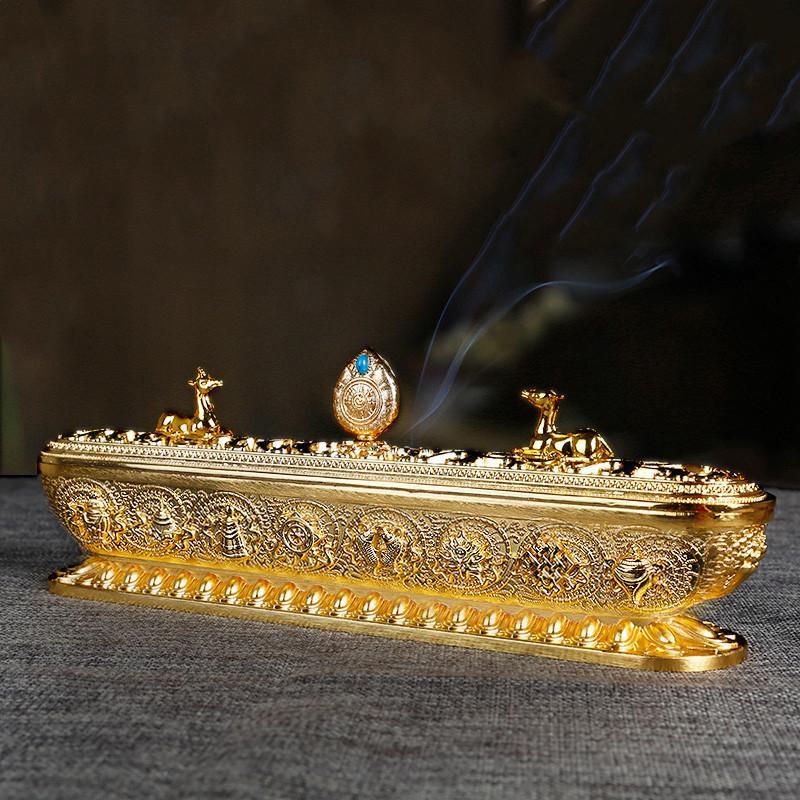 Kupfer Tibet Räucherbrenner Antike handgefertigte Räucherstäbchenhalter Zen Buddhistische Teehaus Home Büro Dekoration Handwerk Ornamente