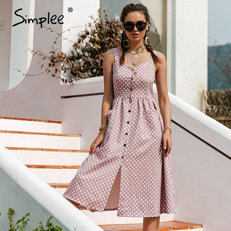 Simplee Casual Polka Dot Kleid Sleeveless Urlaub Stil Hohe Taille Taktored Damen Kleid Mode Mittellang Sommerkleider NEU 210309