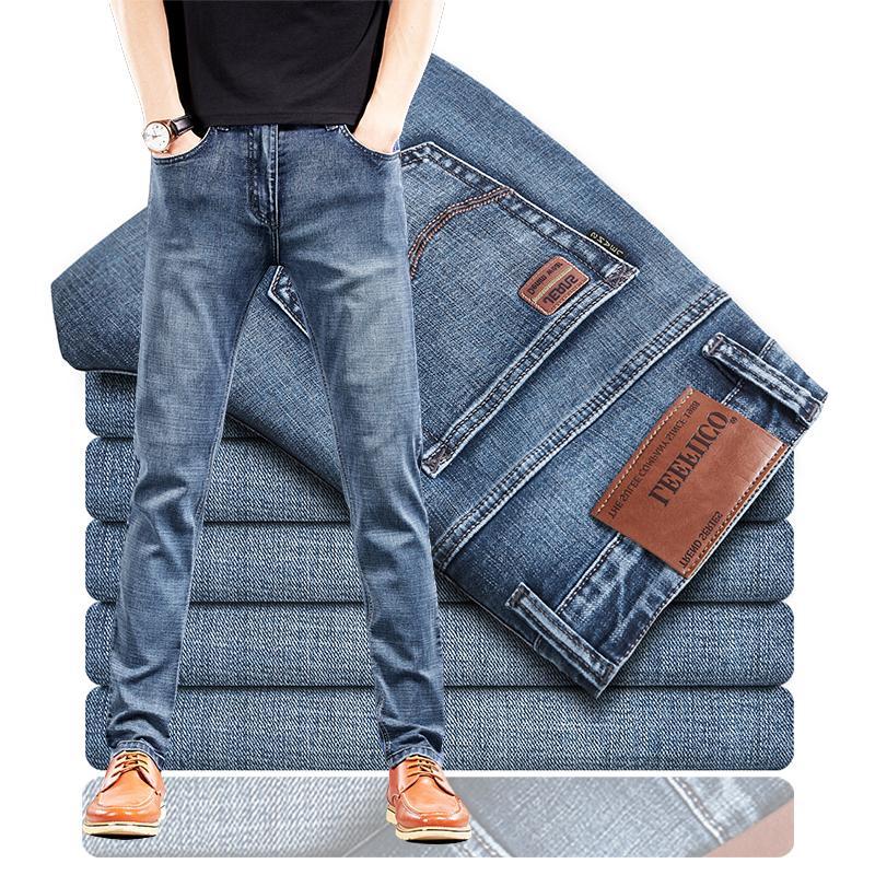 2021 primavera y otoño estiramiento recto ajuste jeans pantalones de mezclilla para hombres nuevos pantalones de estilo para hombre desgaste azul azul