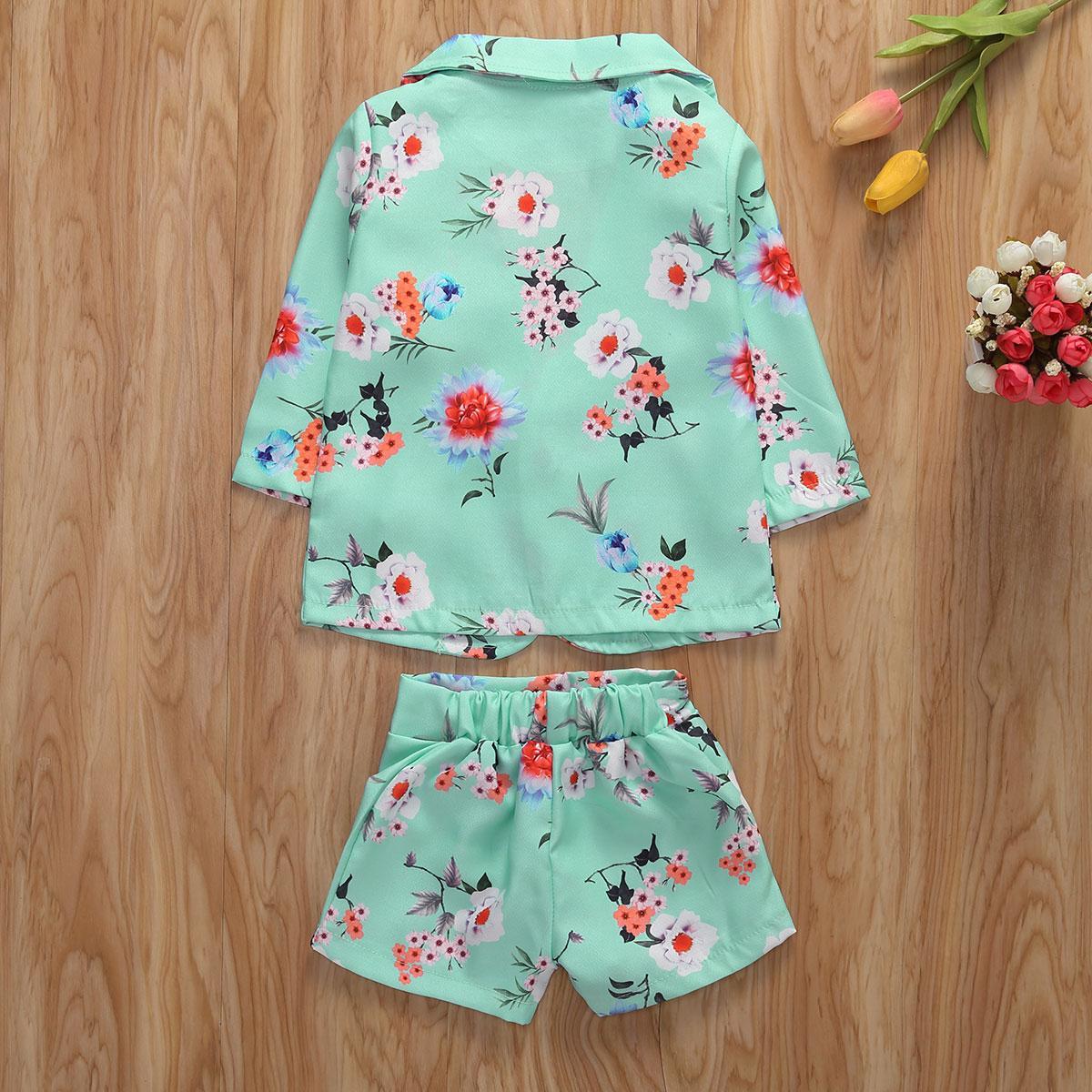 1-5Y Mode Kinder Kleidung Sets Mädchen Blumenmantel + Shorts Zweiteiliger Anzug Kid Anzug Mädchen Kleidung Sets
