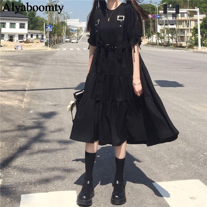 Japon Harajuku Yaz Kadın Streetwear Uzun Elbise Gotik Punk Tarzı Kemer Cosplay Elbise Kısa Kollu Şerit Ruffles Midi Elbise 210303