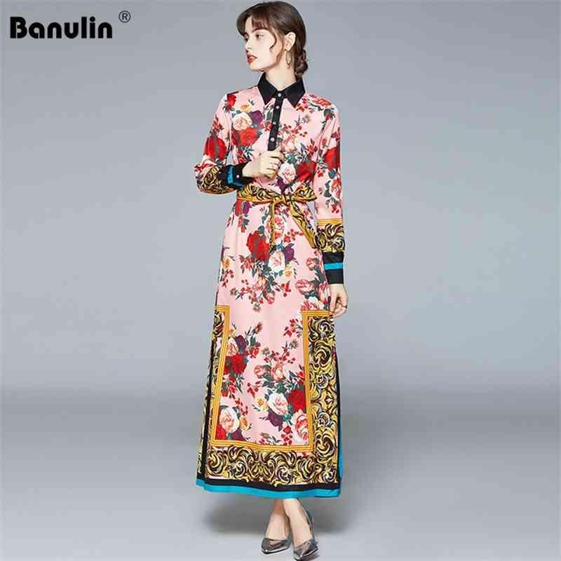 Banulin Mode Runway Spring Maxi Kleid Frauen Plus Size Puff Sleeve Blumendruck Eleganter Bogen Lace Up Lose Split Lange 210603