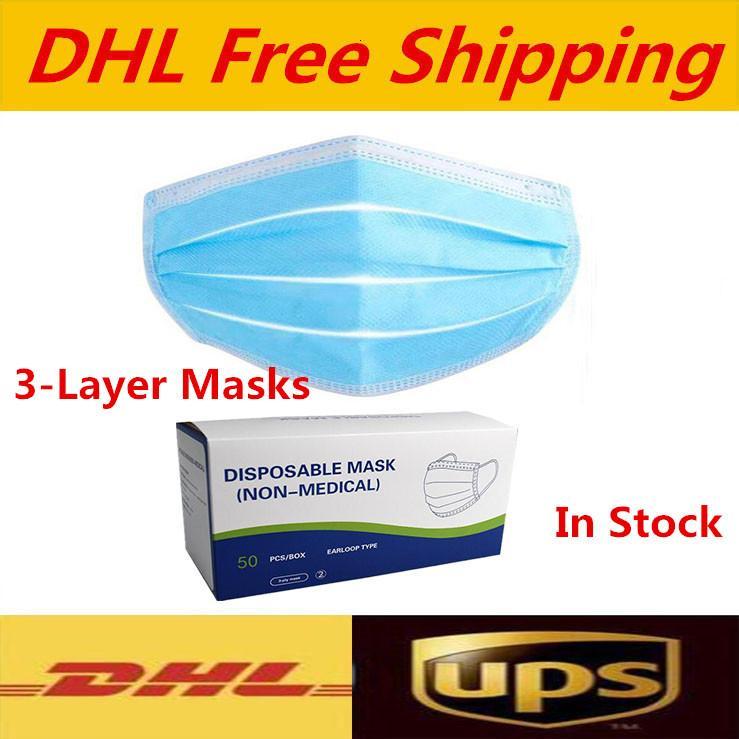Livré avec une boîte Livraison gratuite 3-7 jours sur des masques de visage jetables aux États-Unis avec une boucle d'oreille élastique 3 plis respirant pour blocage de poussière Air anti-Pollun