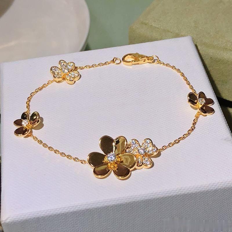 حار بيع 925 فضة ماركة مجوهرات للنساء الفضة سلسلة البرسيم سوار praty مجوهرات الزفاف الذهب اللون زهرة البرسيم سوار
