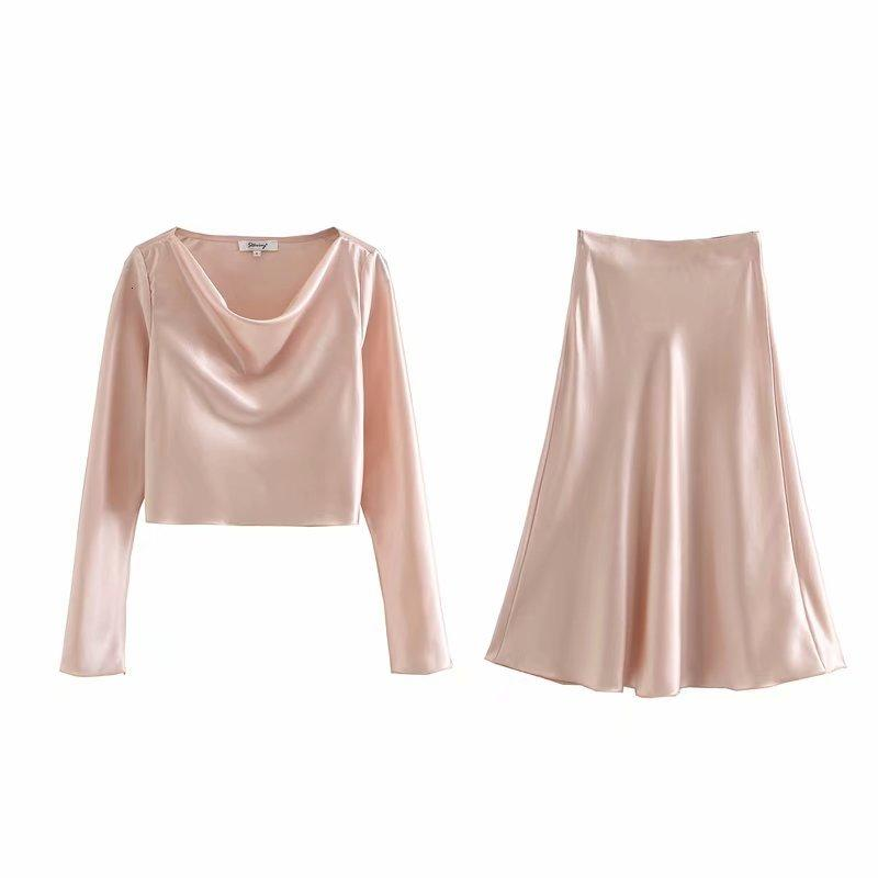 Kadın Moda Mizaç Parlak Suit Üst Saten Doku + Etek Yüksek Bel Kadın Giyim İki Parçalar 3 KFG