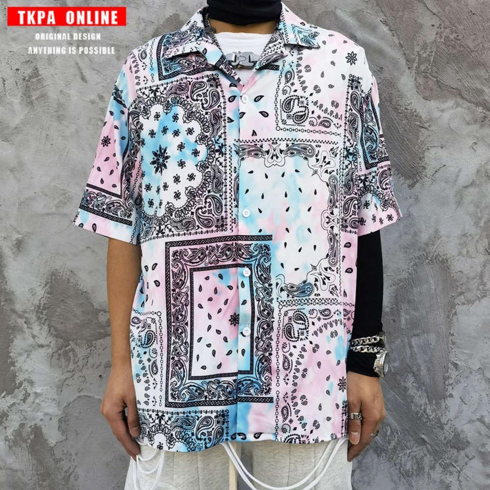 TKPA Street Counce Teas Teas Cread Controw Рубашка с коротким рукавом Мужской модный модный хип-хоп Свободная ленивая рубашка Fenghua мужская и женская