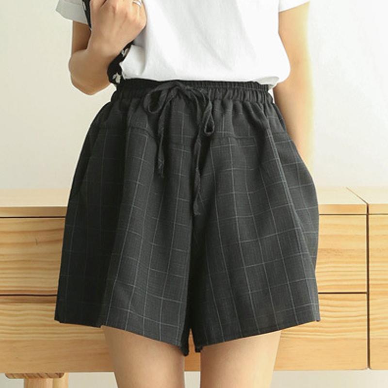 Kısa Pantolon Kadın Yaz Yeni Pamuk Keten Geniş Bacak Pantolon Kadın Rahat Artı Boyutu Gevşek Lace Up Elastik Bel Şort