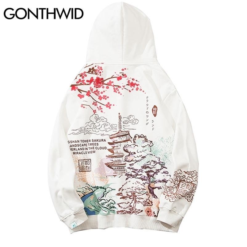 Gonthwid estilo chinês flores de cerejeira torre cópia moletom moletom cuis streetwear homens hip hop casual camisas com capuz tops 20127