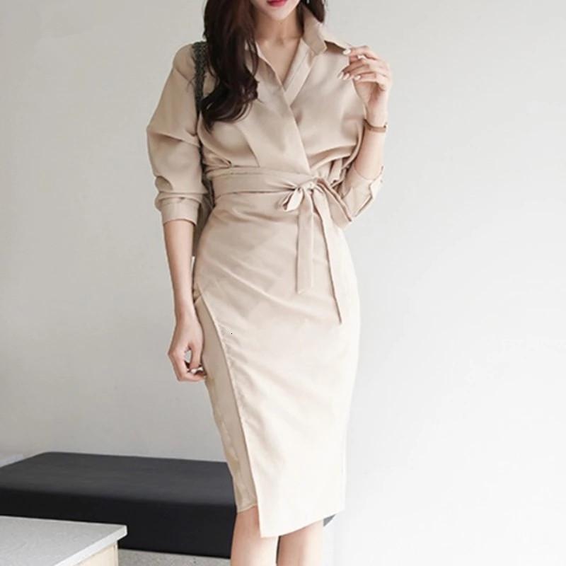 2021 Nuevo otoño coreano chic mujeres de manga larga de manga larga de la camisa de la camisa de alta cintura de alto encaje hacia arriba vestidos largos UL32